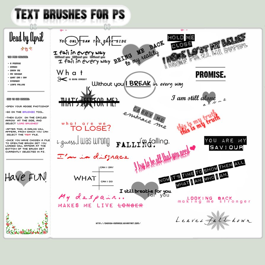 TEXT BRUSHES FOR PS / Текстовые кисти для фотошопа